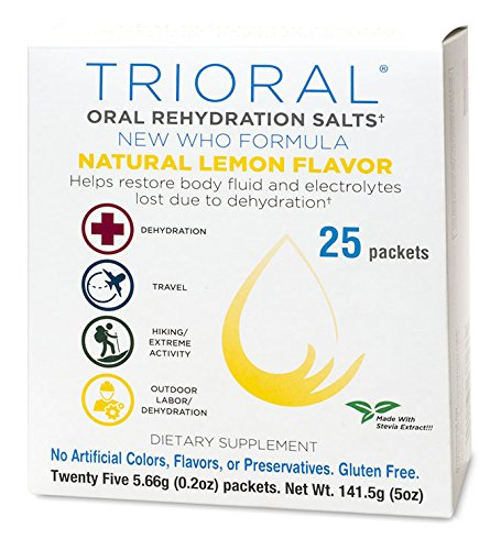 TRIORAL Natural Lemon w/Stevia Oral Rehydration Salts (World Health Organization (WHO) New Formula for Food Poisoning, Hangover Prevention and Relief, Dehydration from Diarrhea (25 Packets/Box) ()