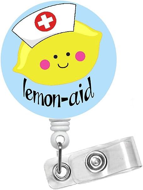 Medical Badge Reel Lemon Badge Reel Badge Reel Nurse Badge Reel Nurses Badge Reel RN Badge Reel