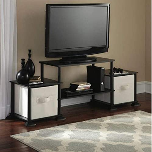 Mainstay 3-Cube Media Entertainment Center for Tvs up to 40 Plasma Television Cabinets Flat Screen Stand Stands Storage Organizer Home Living Room Furniture, Black Oak, 1 Black Oak, 1