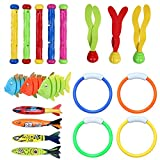Underwater Diving Pool Toys 19PCS Set Diving Rings Diving Toypedo Diving Sticks Aquatic Dive Balls Swimming Fish Swimming Pool Toys For Kids With Carrying Bag