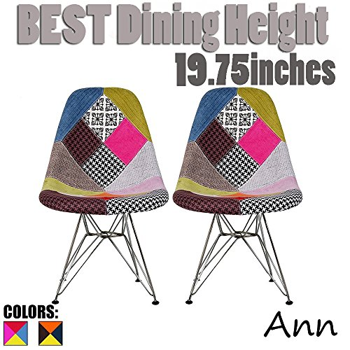 2xhome Set of Two(2) - Fabric Style Side Chair Chrome Wire Legs Eiffel Dining Room Chairs No Arm Arms Armless Molded Plastic Seat Dowel Leg (Patchwork A)