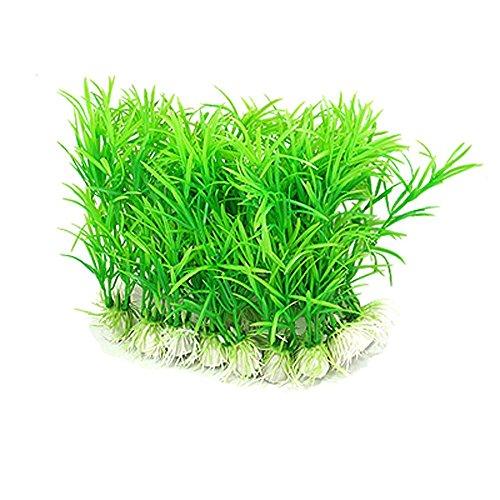 10pcs Ceramic Base Green Plastic Green Tank Plant Aquarium Grass
