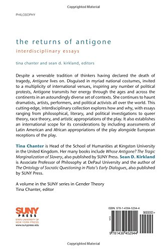 com the returns of antigone interdisciplinary essays  com the returns of antigone interdisciplinary essays suny series in gender theory 9781438452944 tina chanter sean d kirkland books