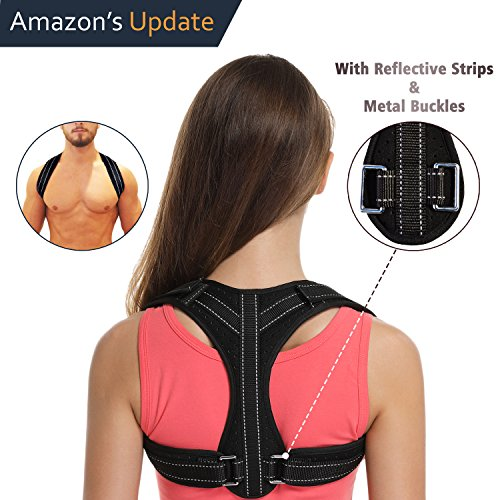 Posture Corrector for Women&Men Under Clothes,Posture Brace,Adjustable Back Brace with Reflective Strips,Back Posture Correct Brace,Clavicle Brace,Back Support for Shoulder&Neck&Upper Back Pain Relief by GEWIN