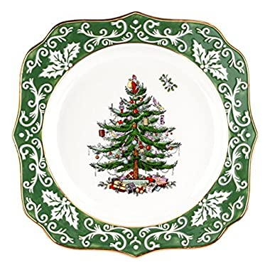 Spode Christmas Tree Embossed Scalloped Plate, Gold