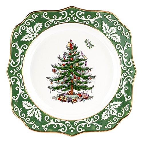 Tree Embossed Christmas - Spode Christmas Tree Embossed Scalloped Plate, Gold