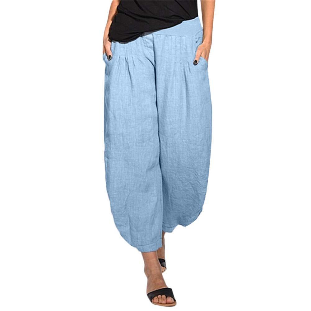 wodceeke Women Loose Pants, Solid Color Casual Cotton Linen Elastic High Waist Wide Leg Pants Trouser (S, Blue)