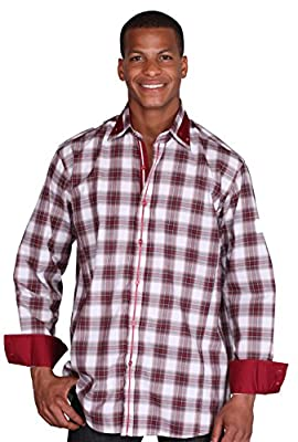 Men's Classic Casual Dress Shirt With Plaids & Checks Square Button-Down Collar