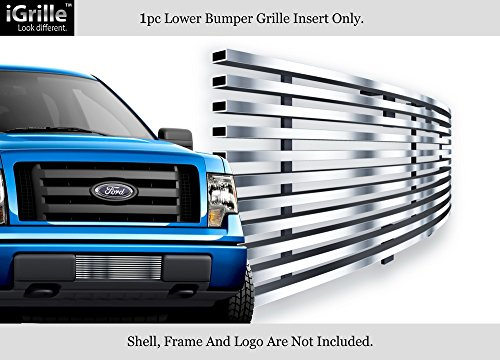 (APS Compatible with 2009-2014 Ford F-150 Lower Bumper Stainless Steel Polished Chrome 8x6 Horizontal Billet Grille Insert F66789S )