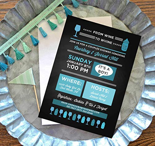 Couples Baby Shower Invitations with Envelopes - From Wine to Whine - Set of 10 - You Choose -