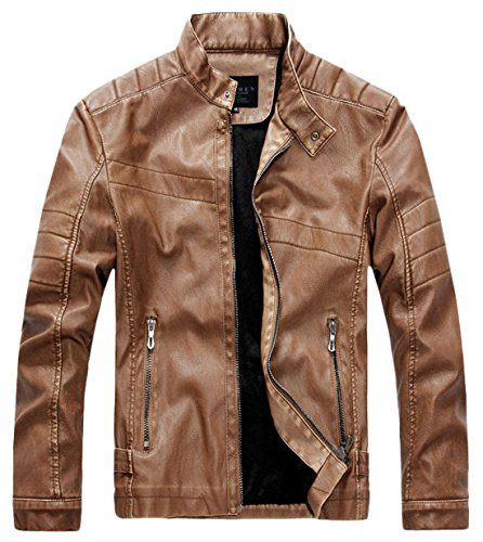 (chouyatou Men's Vintage Stand Collar Pu Leather Jacket (XX-Large, WZQM111-Brown) )