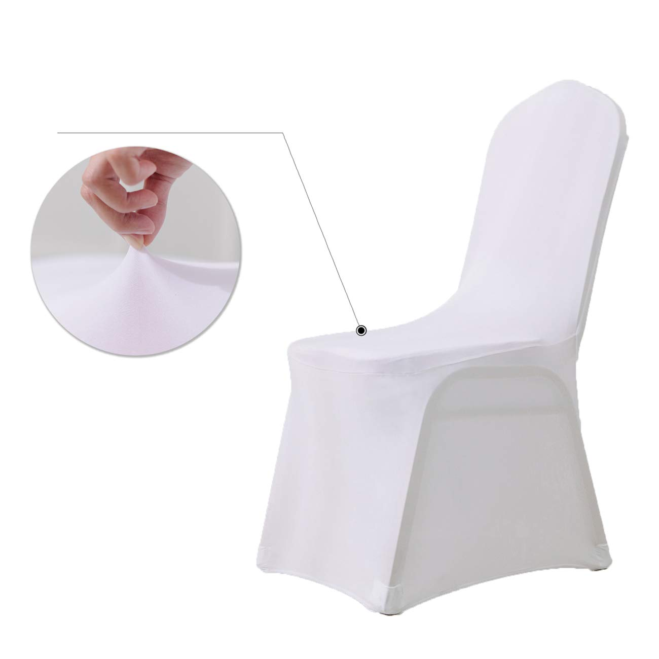 NANPIPER Chair Covers for Wedding White Set of 12pcs Polyester Spandex Banquet Party Chair Cover NPCC01W