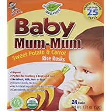 Hot-Kid Baby Mum-Mum Rice Rusks, Organic Sweet Potato & Carrot, 24 Pieces (Pack of 6) Organic, Gluten Free, Allergen Free, Non-GMO, Rice Teether Cookie for Teething Infants