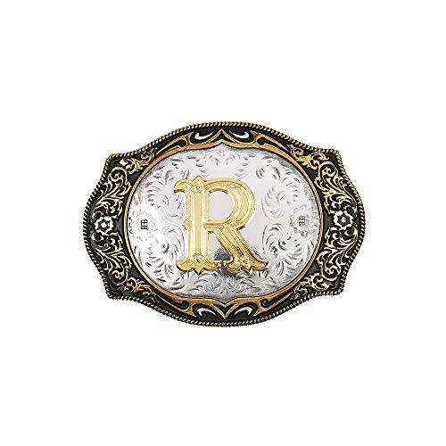 Western Belt Buckle Initial Letters ABCDMRJ to Z Cowboy Rodeo Gold Belt Buckles for Men ()