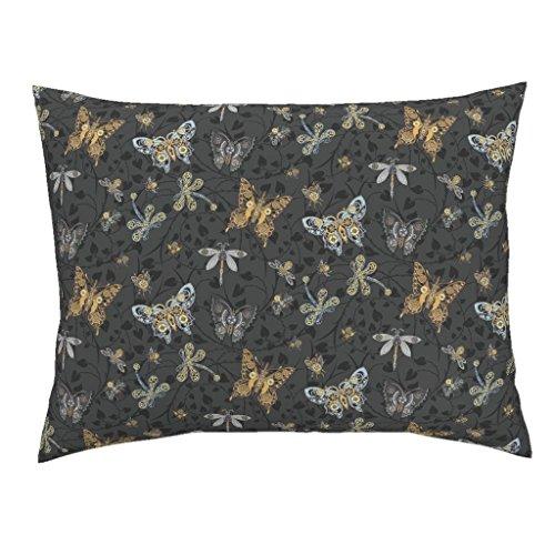 Steampunk Euro Knife Edge Pillow Sham Victorian Heart Thorn Cog Butterfly Dragonflies by Stitchyrichie 100% Cotton Sateen -