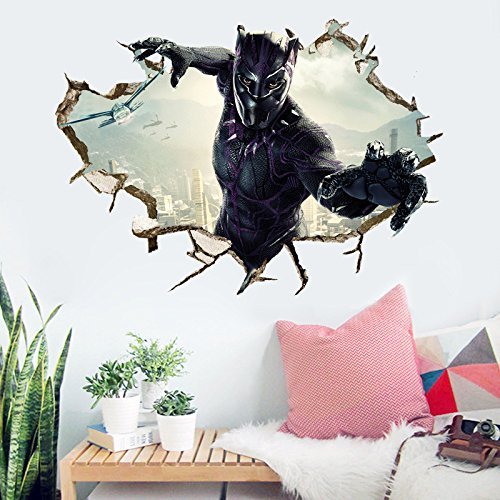 Black Panther Wall Decal Cartoon 3D Marvel Wall Stickers Avengers Cartoon for Kids Bedroom Wall Decor 50×70 cm, PVC, Removable by Lei Decal