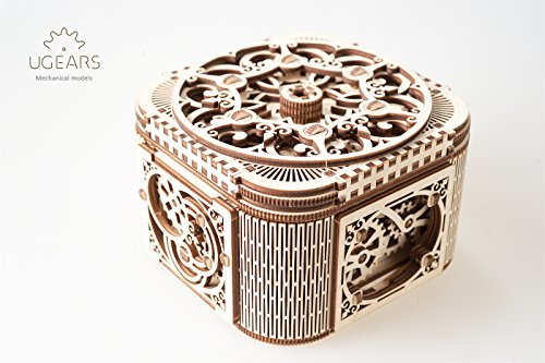 UGEARS Treasure Box 3D Wooden Puzzle - Adult Craft Set for Self-Assembly, Ideal Women Gift