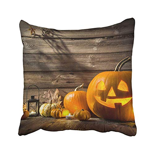 Abaysto Orange Carved Halloween Pumpkin Head Jack Lantern on Wooden Face Light Cute Funny Scary Wood Autumn Pillow Cases Cushion Case Size 16x16 Inches Personalized -