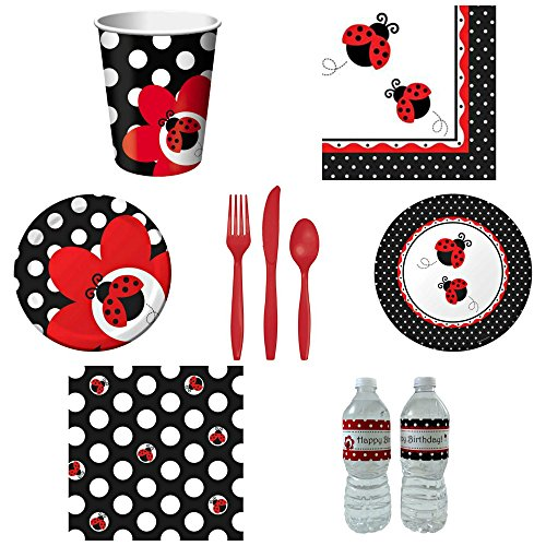 Creative Converting Ladybug Fancy Tableware Paper Party Pack for 8 Guests with Custom Water Bottle Labels (Red-tableware)
