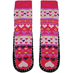 VALENTINE'S DAY GIFT - Basico Women Knitted Home Slipper Socks with NON Slip Bottom (Heart-Red Pink)