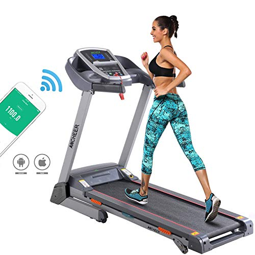 ANCHEER Folding Treadmill, Cardio Training Electric Motorized Running/Walking Machine for Home Bodybuilding (Balck) (APP Control Upgraded)