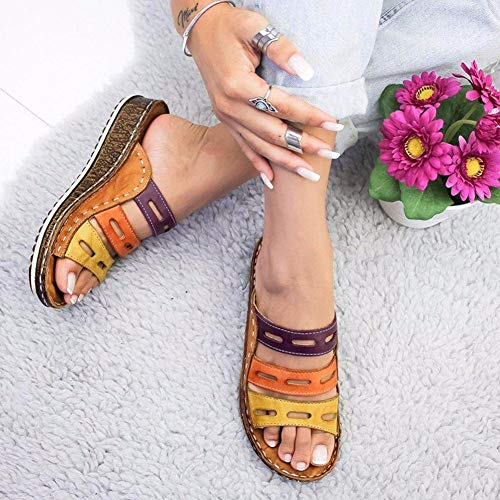 Non slip Sandals for Women 2019 Chic Three-Color Stitching Comfy Platform Soft Summer Open Toe Beach Traveling Shoes Garden Shopping for Indoor and Outdoor ()
