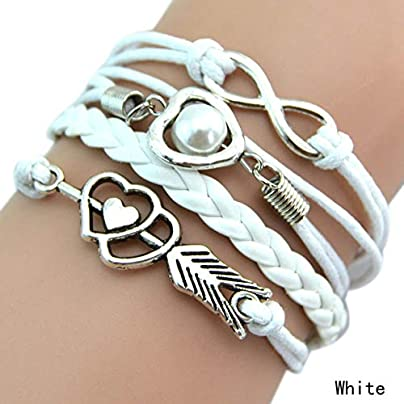 ZUOZUO Leather Wristband Women S Girls Multi-Layer Braided Bracelet With Heart And 8Th Shaped Decorative 9-Color Jewelry Estimated Price £15.99 -