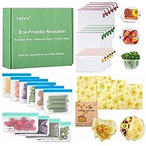 VOKOO Reusable Produce Bags, Reusable Sandwich Bags & Beeswax Food Wrap, Eco-Friendly Reusable Bags & Food Wraps Bundle…