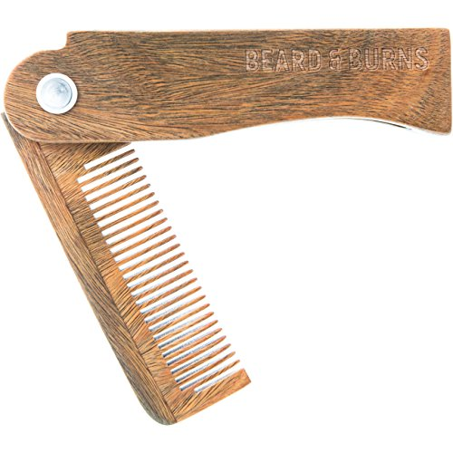 Wooden Folding Beard Comb by Beard and Burns – Portable Beard Trimming Guide Comb – Handmade Tool Made from 100% Sandalwood - Compact and Easy to Use (Folded Handmade)