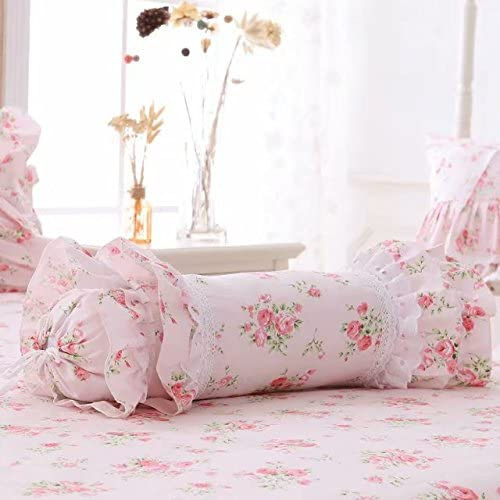 LELVA Floral Ruffle Design Throw Pillow Sham Cushion Pink Candy Decoration Pillow Shaped Sofa Bed Throw Pillows