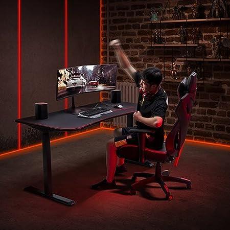 Black Motorized Boost Floor Standing Height Adjustable Desk Desk with 63 Gaming Top Electric