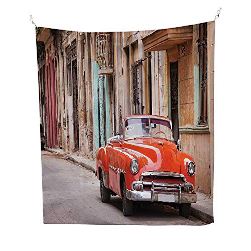 (CarstapestryClassical American Car in a Street with Ancient Houses Caribbeans Havana Cuba 40W x 60L inch Wall tapestryOrange Sand Brown )