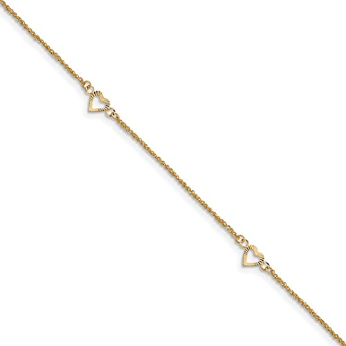 ae47aa5b7 Image Unavailable. Image not available for. Color: 14k Yellow Gold Hearts 9  Inch 1 Adjustable Chain Plus Size Extender Anklet Ankle Beach Bracelet