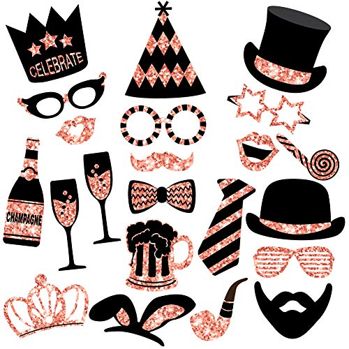 Rose Gold Photo Booth Props (No Glitter) - Mix of Hats, Lips, Mustaches, Crowns and More (22 pcs) - Durable and Vibrant - Perfect for Birthday Parties, Weddings and More -