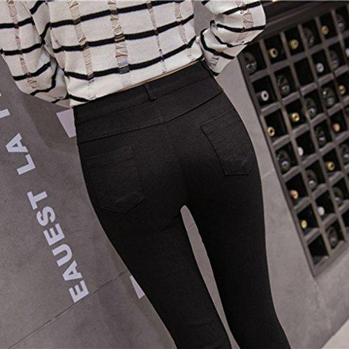 Jeans Pants Donne Nero Mengonee Vita Net Denim Alta Hole A Strappati Big Skinny Fish Matita In A6wFtTqw1
