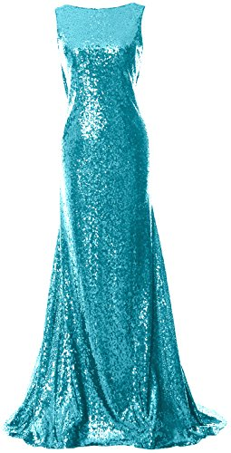 MACloth Women Cowl Back Sequin Bridesmaid Dress Long Formal Party Evening Gown Turquesa