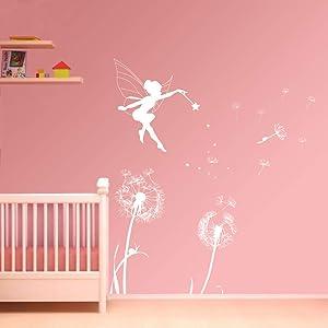 ufengke Dandelion Fairy Wall Stickers Removable Vinyl Wall Art Decals Mural Wall Decor for Girls Bedroom Nursery