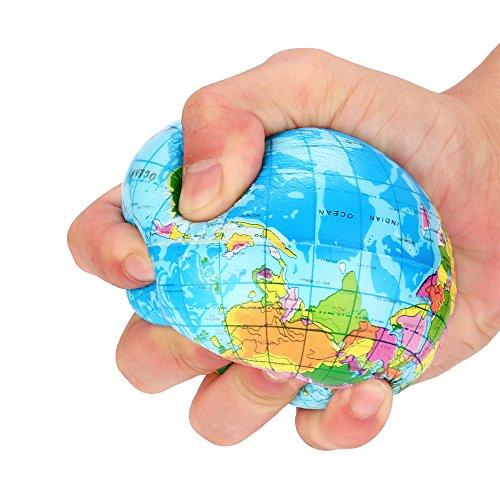 (DIGOOD Rubber Stress Relief Toy, Kids Adults World Map Foam Ball Atlas Globe Palm Ball Planet Earth Ball (76mm) Blue)