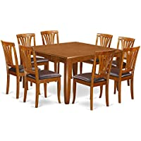 East West Furniture PFAV9-SBR-LC 9-Piece Dining Table Set