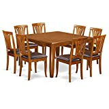 Cheap East West Furniture PFAV9-SBR-LC 9 Pc Dining Room Set-Table with Leaf and 8 Dining Chairs.