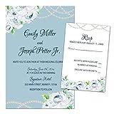 500 Wedding Invitations Blue White Floral Design + Envelopes + Response Cards Set