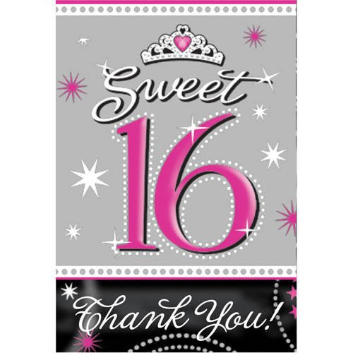 Amscan Sweet Sparkle Birthday Party Invitations And Thank You Notes Cards Supplies (20 Pack),  3 7/8
