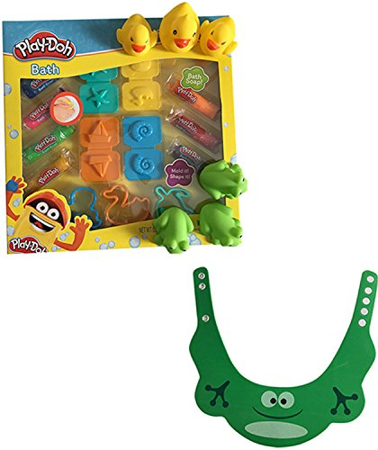 Bundle of Play-Doh Bath Soap Super Tool Set, Rubber Duckies, Rubber Frogs & Froggie Shampoo Hat by Unknown