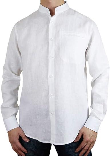Camisa de Cuello Mao con Botones de Lino, Color Blanco: Amazon.es: Ropa y accesorios