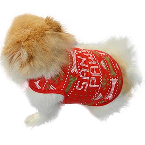 AIMTOPPY New Fashion Christmas Bones Cute Dog Clothes Santa Doggy Costumes Clothing Pet Apparel (Doggy Clothing)