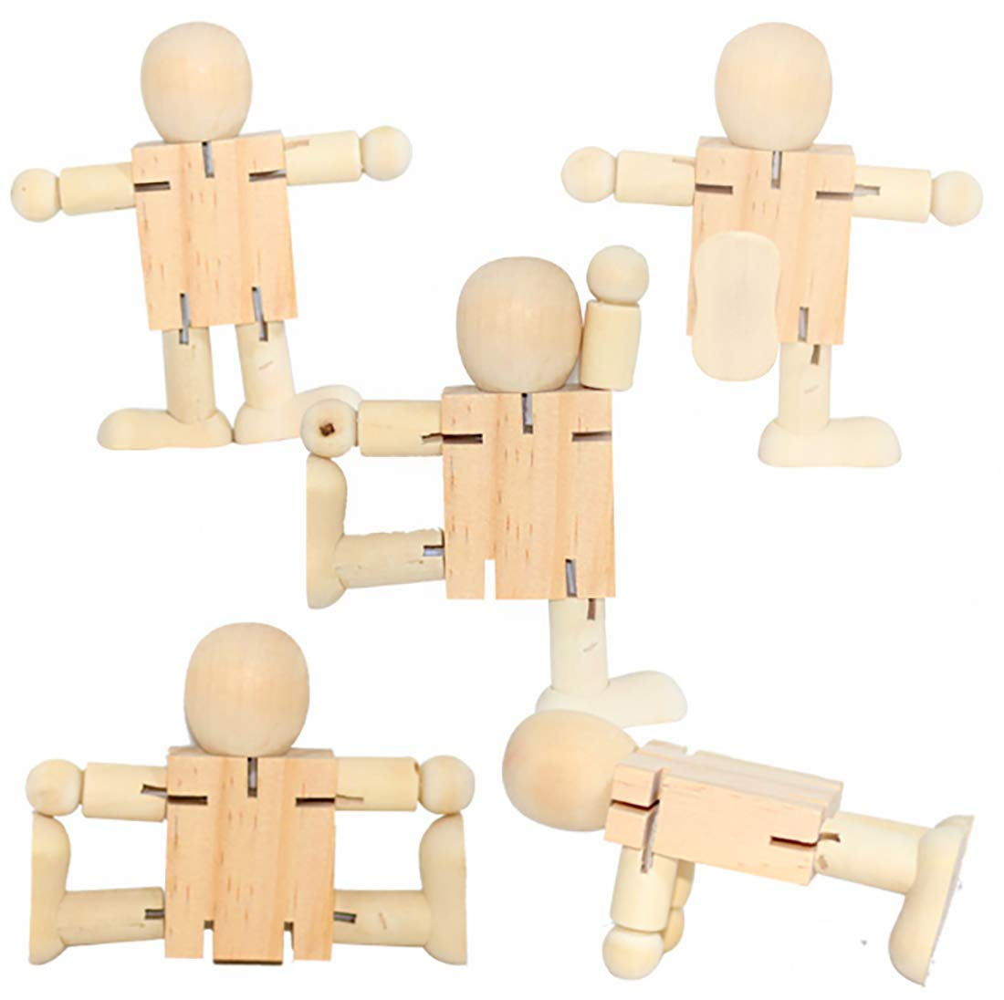 5PCS Robot Wooden Scrapbooking Crafts Handmade Blank Wood DIY Arts Crafts Supplies Kids Baby Toys Christmas Home Decorations