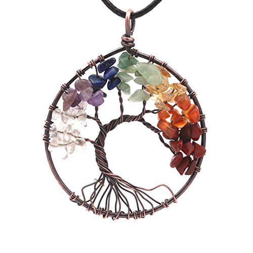 Tree Of Life 7 Chakra Gemstone Necklace With Crystals - Extra Large Antiqued Copper-Toned Pendant with Black (Stone Cord)
