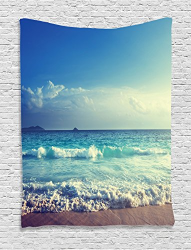 Paradise Sunset Tapestry - Ambesonne Beach Tapestry Ocean Decor, Tropical Island Paradise Beach at Sunset Time with Waves and the Misty Sea Image, Bedroom Living Room Dorm Wall Hanging Tapestry, Cream Turquoise