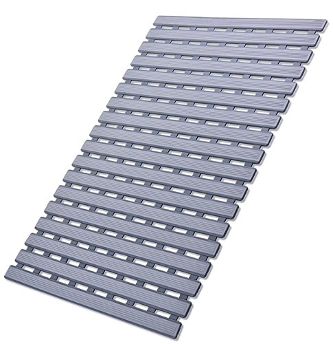 I FRMMY Non Slip Bath Shower Floor Mat with Drain Hole- Anti Slip Bathroom Stall Mat-Gray (Best Bath Mats For Elderly)