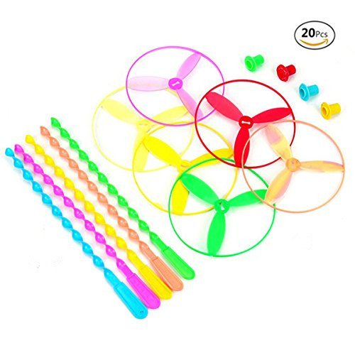 HJ Dragonfly Toy Plastic Twisty Flying Saucers Spinning Shooter Flying Disc Toys for Children - Package of 20 COLORS MAY ()